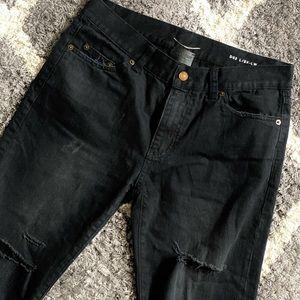 Saint Laurent D02 Black Denim Distressed Skinny Jeans Size 32